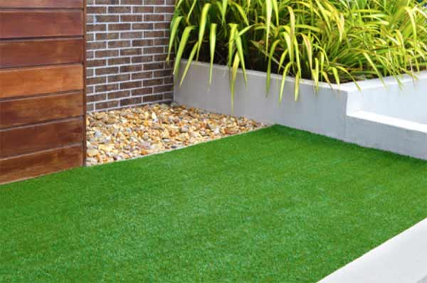 Artificial grass laid as a lawn