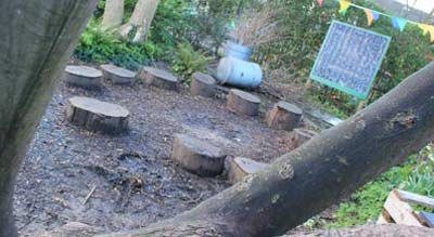 Outdoor classroom with blackboard and fire pit