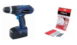 Einhell blue cordless drill driver and Corefix fixings