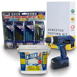 Einhell Blue, X-Tex artex remover and DIY asbestos test kit