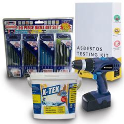 Einhell Blue, X-Tex artex remover and DIY asbestos test kit