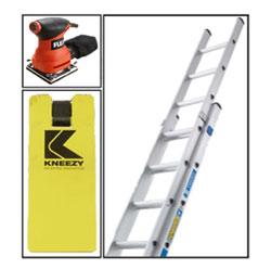 Kneezy Kneeling pad, Zarges Ladder and Flex palm sander