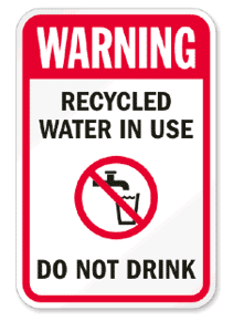 Recycled water in use warning banner