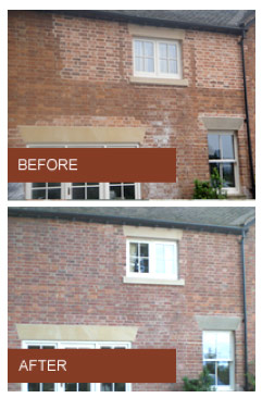 Before and after example of brick tinting