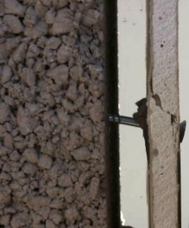Screw bending under load in dot and dab plasterboard wall
