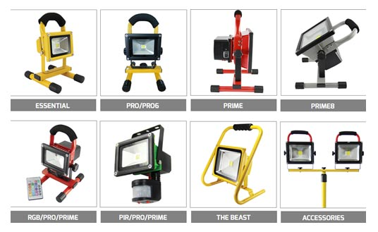 Full range of rechargeable lights from Flood-It