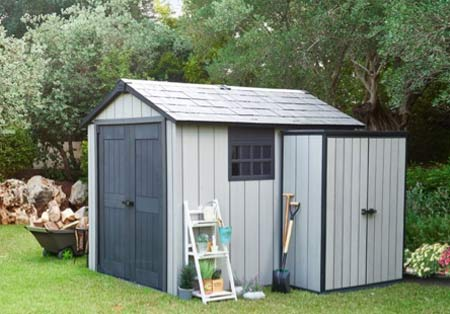 Keter shed with external tool store