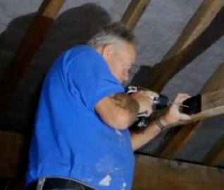 Drilling pilot holes to fix the Loft Light