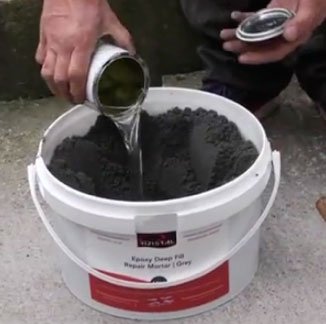 Epoxy mortars require a resin and a hardener