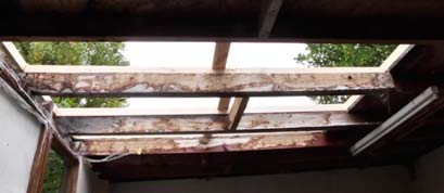 Leaking area of roof stripped back