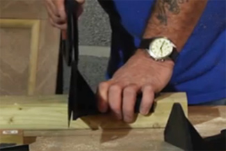 Using a Studhawk saw guide to cut a perfect right-angle