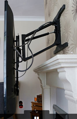 Gas sprung dampers in a Tranquil Mount TV wall bracket