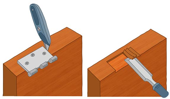 Learn how to cut door hinges neatly for a good fit