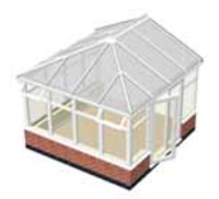 Conservatory with concrete base and dwarf walls