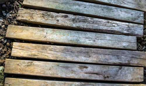 Wooden sleeper garden walkway