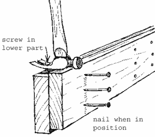 Image of how to nail a bowed peice of wood to straighten it