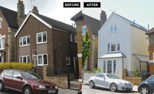 Before and after rendering a house