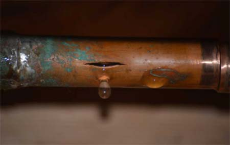 Burst copper pipe