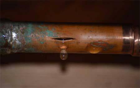 Burst copper pipe