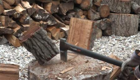 Chopping wood with an axe