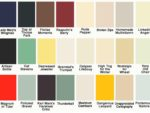 Different shades of paint in a colour chart