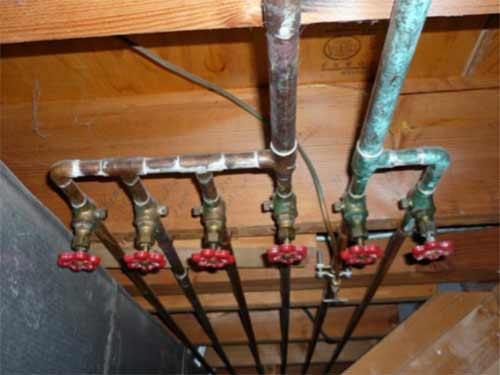 Copper pipes and stop valves