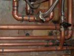 Copper pipework from heating system