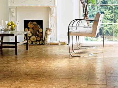 Cork tiled floor
