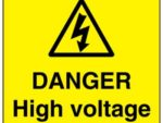 High voltage electricity danger sign