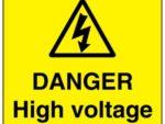 High voltage electricity danger sign