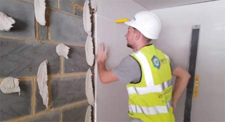 Dot and Dab plasterboard fixing