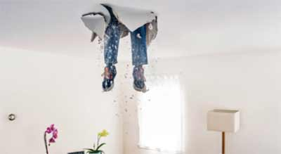 Accidentally falling through ceiling