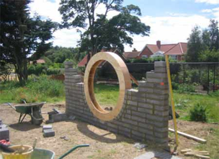 Feature garden wall under construction