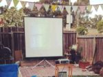 Garden cinema screen and projector