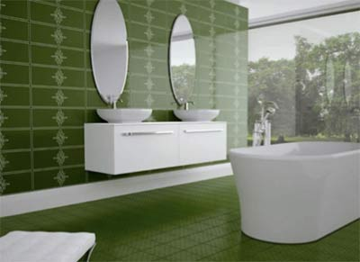 Beautiful green bathroom tiles