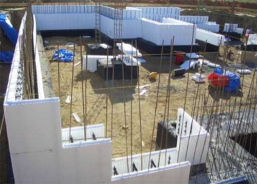 ICF blocks used on building site