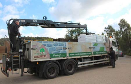 Lorry loaded with building materials ready to deliver