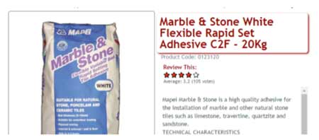 Marble and stone fast set adhesive