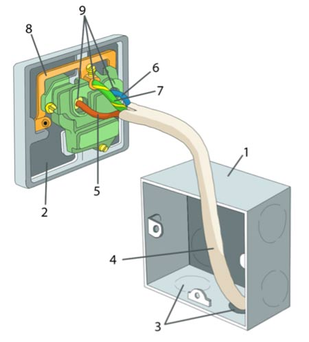 Parts of an electrical socket