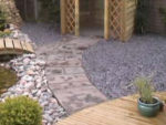 Paving slab pathway in garden