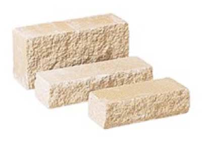 Pitched natural stone blocks