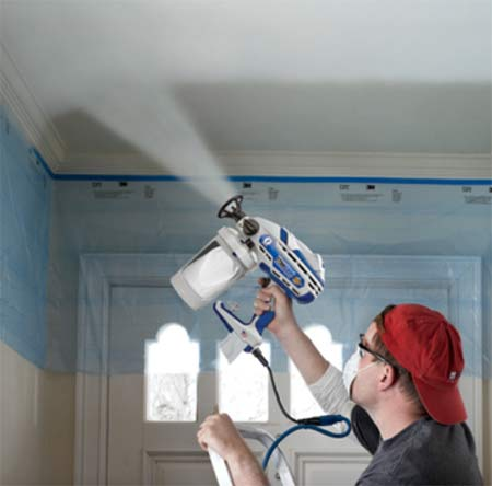 Spray painting a ceiling