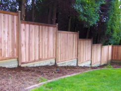 Stepped fencing to sloping ground.