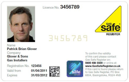 Front of GasSafe ID card