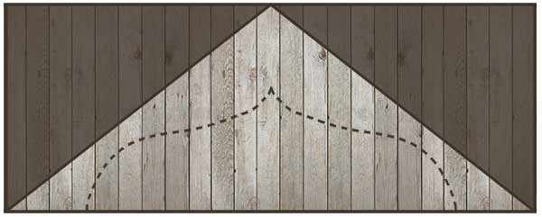 Decorative gable end for arbour marked out on ply board