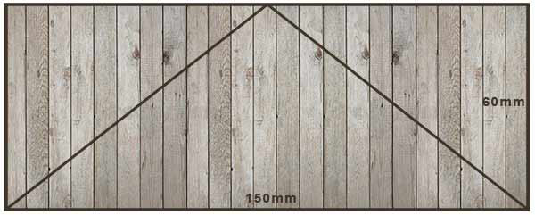 Gable ends for arbour marked out on a piece of ply board