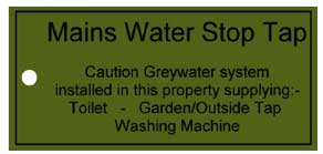 Main Water Stop Tap indication notice