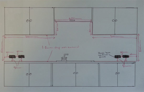 Measurement and cutting plan for acrylic splashback