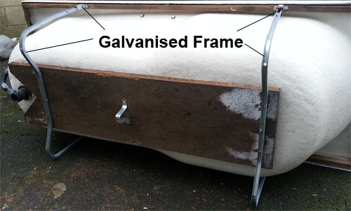 Galvanised support cradle for acrylic bath