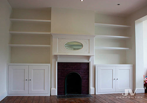 Alcove cabinet and shelving